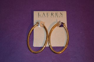 Lauren by Ralph Lauren Gold Tone Oval Hoop Earrings
