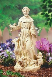 ST FRANCIS of Assisi STATUE Art Resin Stone  lawn garden Sculpture