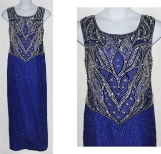 Laurence Kazar New York Silk Beaded Sapphire Blue Formal Evening Gown