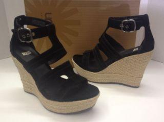UGG Lauri Black Suede Espadrille Platform Wedge Shoes New