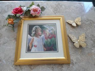 Home Interiors Picture Homco Girl Angel Child and Dove Frame