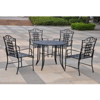 Piece Iron Outdoor Backyard Dining Patio Furniture Set Table & Chairs