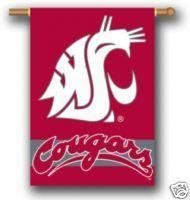 WSU Washington State Cougars 2 Sided Flag 28x40 Banner