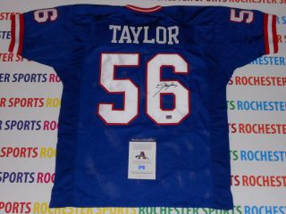 LAWRENCE TAYLOR autographed signed New York Giants blue Jersey AAA