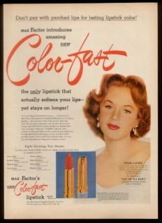 1952 Piper Laurie Photo Max Factor Color Fast Lipstick Vintage Print