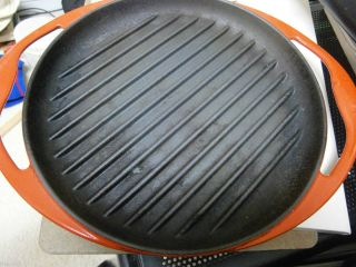 Le Creuset Red Enameled Round Cast Iron Skinny Grill Pan No 26