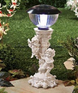 SOLAR CHERUB LIGHT ANGEL YARD LAWN GARDEN PORCH PATIO STATUE OUTDOOR
