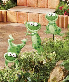 Set of 3 Metal FROG Garden Stake Sculpture Lawn Garden Flower Pot