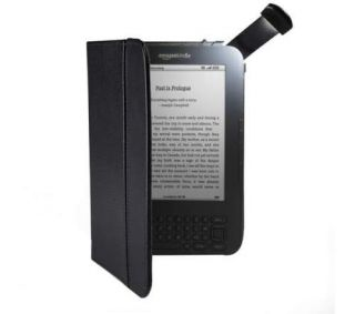 Black Leather Cover Case w Light for Kindle 3 aka Kindle