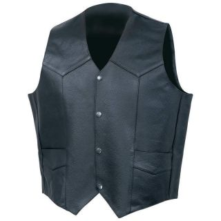 Solid Genuine Cowhide Leather Vest Motorcycle Vests Black New