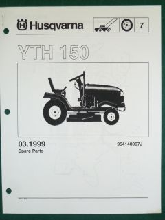 Husqvarna Yth 150 Lawn Garden Tractor Mower Parts List Service Manual