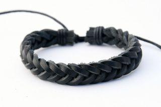 Man Leather Hemp Surfer Black Color Tribal Multi Wrap Wrist Bracelet