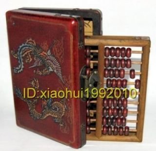 Abacus Leather Wooden Dragon Phoenix Abacus Box ★★★★★