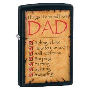 Zippo Things I Learned from Dad Black Matte Lighter Low SHIP 28372