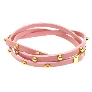 Pink Gold Studded Italian Calf Leather Wrap Bracelet