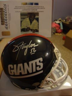 LAWRENCE TAYLOR AUTOGRAPHED N.Y. GIANTS MINI HELMET PHOTOSTAT COA w