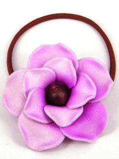 Leather Rose Flower Ponytail Holder Hair Tie Bow CHB2 Purple
