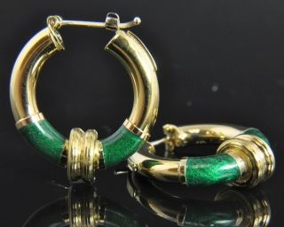 Gaston Lebo Italian Estate Vintage 18K Yellow Gold Green Enamel Hoop