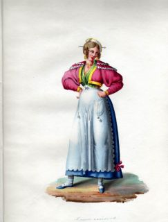 1840 Italy Rome Lazio Donna Eminente Woman Costume Watercolor