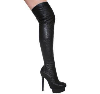 Borello Leather Stiletto Thigh High Boots 5 10