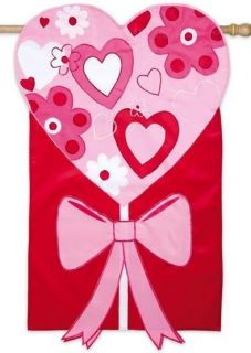 Heart with Ribbon Valentines Day Applique Evergreen Decorative Garden