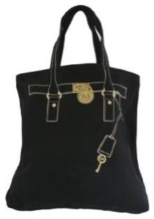 New Michael Kors Hamilton Trompe Loeil Black Canvas Large Tote Bag