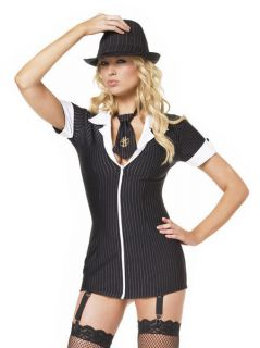 Leg Avenue 2pc Gangsta Girl Costume Black Dress with Neck Tie Size