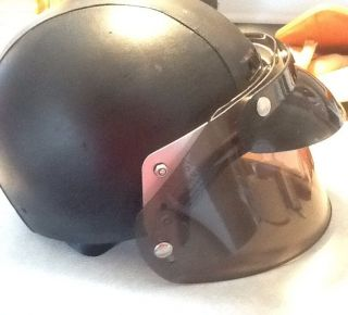 Leather Motorcycle Helmet with Full Face Shield and Harley Bag Size M