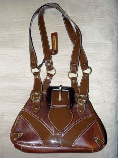 Gabbana Brown Leather Patent Leather Combination Bag Purse Tote