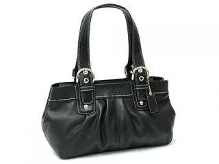 Coach Soho Leather Pleated Satchel Black Leather Tote Bag 13732   $378