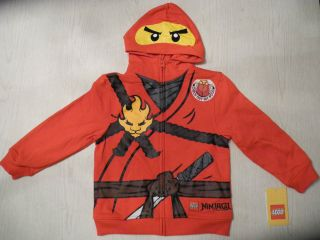 New Lego Ninjago Kai Boys Hoodie Sweatshirt Sz 7 Costume Red Ninja