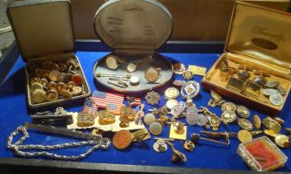 Mens Jewelry Lot Cuff Links Studs Flag Button Service Tie Pin Gold