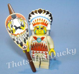Lego minifig INDIAN CHIEF Spear & Shield WILD WEST Western MiniFigure