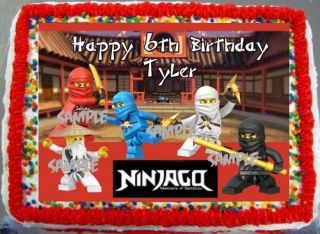 Lego Birthday Cake on Sheet Legos Ninjago Edible Frosting Cake Birthday Image Party
