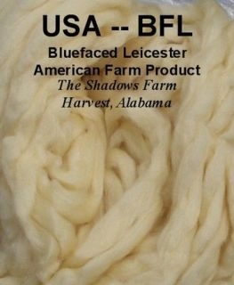 USA BFL Blue Face Leicester White Wool Roving Top Spinning Wheel Fiber