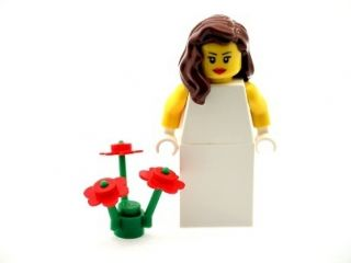 Lego Bride Minifig with Long Brown Hair and Flowers Ideal Wedding Cake