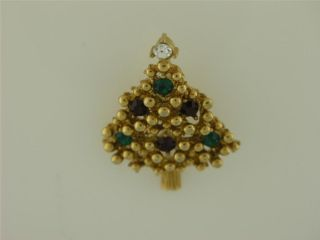 Vintage Christmas Tree Red Green Clear Rhinestone Brooch Pin