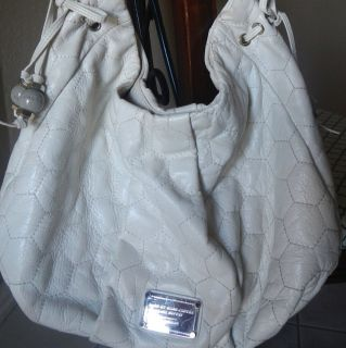 Marc Jacobs Quilty Q Classic Leola White Leather Hobo Handbag