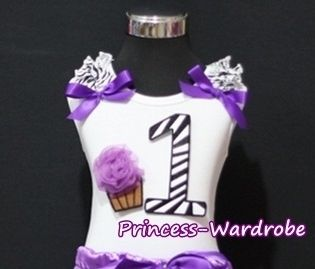 Purple Zebra Print 1st Birthday Cake Baby White Top