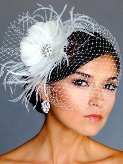 IVORY Rhinestone BROOCH Fascinator Headpiece BIRDCAGE Bridal VEIL 21