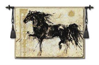 53x45 Lepa Zena Black Horse Fine Tapestry Wall Hanging