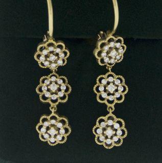 Leslie Greene Diamond Flower 18K Gold Earrings 60 Off