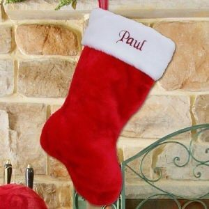 Personalized Embroidered Christmas Holiday Red Plush Stocking