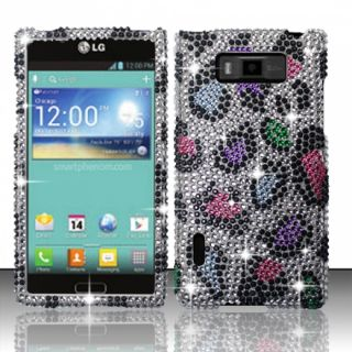 LG Splendor US730 Crystal Diamond Bling Hard Case Phone Cover Rainbow