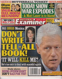 2012 National Examiner Bill Clinton Monica Lewinsky Matt Lauer