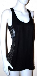 New $199 Leola Couture Beaded Tank Top Shirt Black Casual Medium