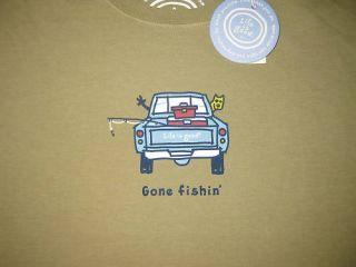LIFE IS GOOD Gone Fishing Pickup Truck Jake Dog SS T Shirt NWT Mens M