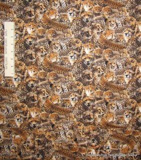 Cotton Fabric Elizabeth Studio Leopards Africa Yards