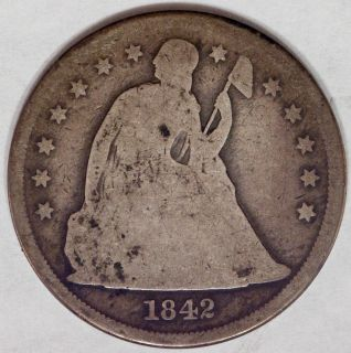 USA 1842 Seated Liberty Silver Dollar Good Condition