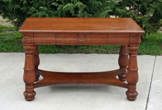 Large Antique Tiger Oak Library Table w Drawer Circa 1900